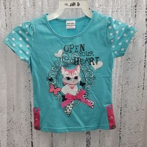 Girls T-Shirt - Turquoise Kitty with Bow